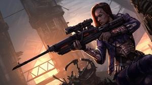 Artwork Women Sniper Rifle 1920x1034 Wallpaper