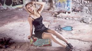 Woman Model Girl Black Dress Blonde 2560x1707 Wallpaper