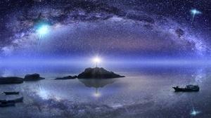 Night Ocean Sky Starry Sky 5120x2880 Wallpaper