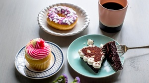 Food Cake Fork Coffee Cup Sweets Flowers 2400x1709 Wallpaper