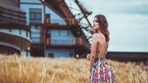 Cero Grey Women Model Latinas Outdoors Mexican Long Hair Dress Bare Shoulders Lipstick 2048x1365 Wallpaper