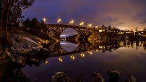 Bridge Night Reflection River 2048x1365 Wallpaper