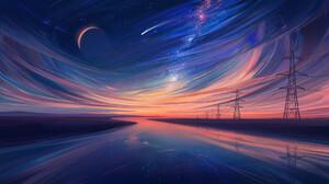 Digital Art Landscape River Sky Power Lines Moon Aenami 1920x1080 wallpaper