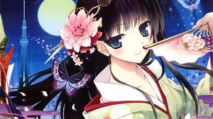 Black Hair Blue Eyes Blush Butterfly Fan Flower Kimono Long Hair Moon Smile 4600x3253 Wallpaper