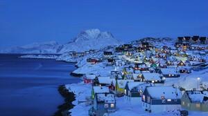 Lofoten Norway Snow Village Winter 1920x1080 Wallpaper
