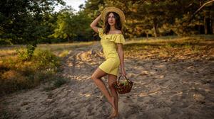 Women Skinny Yellow Dress Women Outdoors Brunette Hat Smiling Fruit Polka Dots Necklace Trees 2000x1125 Wallpaper