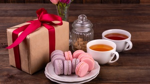 Cup Gift Macaron Still Life Tea 5393x3600 Wallpaper