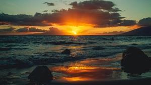Horizon Sea Shore Sunset 3840x2160 Wallpaper