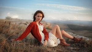 Women Outdoors Looking At Viewer Women Outdoors Boots Sitting Legs Dress White Dress Brunette Cardig 2024x1138 Wallpaper