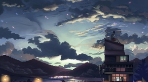 Cloud Girl House Lake Sky 2400x1700 Wallpaper