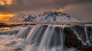 Waterfall Water Mountains Snow Snowy Mountain Rocks Landscape Sea Sea Foam Sunset Outdoors Photograp 2000x1333 Wallpaper