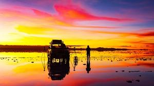 4x4 Car Man Reflection Sunrise 1920x1280 wallpaper