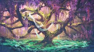 Yuumei Drawing Nature Trees Fantasy Art Children Overgrown Moss Flowers 2700x1350 Wallpaper