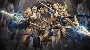 Kim Sung Hwan Drawing Lineage Video Game Art Women Men Warrior Paladin Blonde Silver Hair Beard Lion 3000x1688 Wallpaper