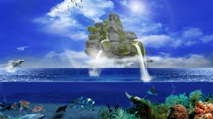 Artistic Fantasy Fish Ocean Plant Sea Underwater Waterfall 1920x1200 Wallpaper