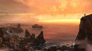 Artwork Digital Art Nature Sunset Beach 2000x1027 Wallpaper