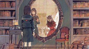 Anime Anime Girls Books Mirror Mirrored Mask School Uniform Dark Hair Long Hair Red Dress Wolf 7000x5600 Wallpaper