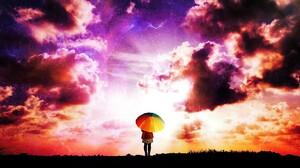Anime Artistic Girl Woman Umbrella Sky Cloud 3051x2369 Wallpaper