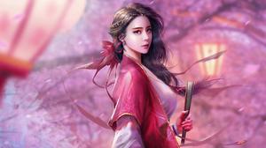 Brown Hair Girl Oriental Woman 3840x2160 wallpaper