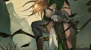 Digital Art Illustration Midfinger Elf Ears Bow Original Characters Elfs Archer Blonde Vertical 2950x3962 Wallpaper