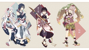 Akira Kemono Jihen Boy Sandal Feet Black Hair Socks Kimono Kabane Kusaka Shiki Tademaru Red Eyes Blu 6239x3195 Wallpaper
