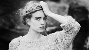 Elsa Fredriksson Holmgren Women Monochrome Braids Looking At Viewer Hands On Head Sweater Swedish 3888x2592 Wallpaper