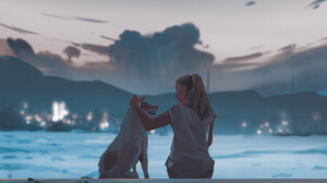 Atey Ghailan Women Drawing Digital Art Sitting Pet Dog Artwork ArtStation 1400x1375 Wallpaper