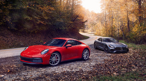 Mercedes Amg Gt Porsche 911 Carrera S Red Car 5120x2880 wallpaper