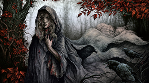 Fantasy Art Fantasy Girl Forest Trees Crow Blonde Long Hair Scars A Song Of Ice And Fire Lady StoneH 1484x969 Wallpaper