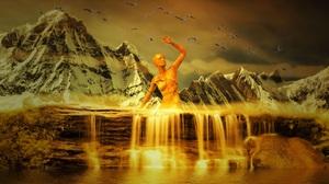 Woman Nature Mountain Waterfall 2000x1125 Wallpaper