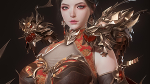 BeomJun Baek CGi Women Brunette Looking At Viewer Armor Brown Clothing Dragon Simple Background 1920x1920 Wallpaper