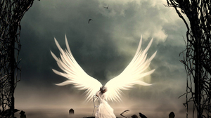 Angel Skeleton Crow Wings Women Mist Clouds Sky Graveyards Nikos23a 1280x1024 Wallpaper