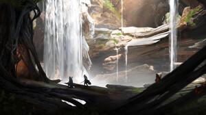 Waterfall Tree 3840x1941 Wallpaper