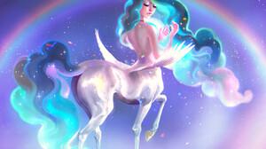 Pauline Vos Horse Rainbows Unicorn Fantasy Art Long Hair Digital Art Digital Painting Women Young Wo 3183x2651 Wallpaper