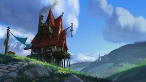 Landscape Digital Art Artwork House Grass Clouds Rocks Mountains 2550x1440 Wallpaper