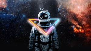 Glitch Art Astronaut Anime Abstract Neon 3860x2160 Wallpaper