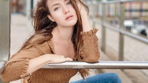Model Women Women Outdoors Urban Brunette Face Hazel Eyes Looking At Viewer Long Hair 2560x1920 Wallpaper