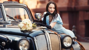Women Urban Outdoors Women Outdoors Women With Cars Car Vehicle Black Cars Pearl Necklace Brunette M 2500x1666 Wallpaper