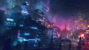 Building City Cyberpunk Cityscape Futuristic City Light Night Skyscraper Vehicle 1920x1229 Wallpaper