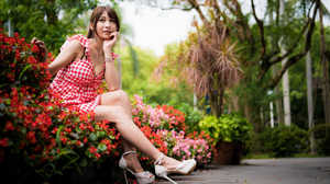 Asian Model Women Long Hair Brunette Sitting Depth Of Field Flowers White Heels Trees Bushes 3840x2561 Wallpaper