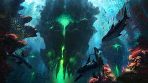 Shark Underwater Coral Reef Green Piotr Dura 1920x998 Wallpaper