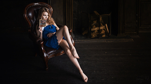 Sergey Fat Women Alice Tarasenko Blonde Long Hair Looking Away Dress Blue Clothing Legs Chair Barefo 1920x1080 Wallpaper