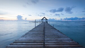 Landscape Nature Clouds Sky Horizon Water Ripples Pier Wooden Bridge Indian Ocean Mauritius Island 1920x1080 wallpaper