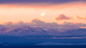 Landscape Mountains Snowy Mountain Clouds Moon Sunset Long Image 4073x1343 wallpaper