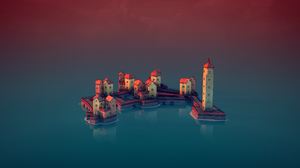 Townscaper Town Video Game Art Video Games Lighthouse Sea Side Calm Waters 2560x1440 Wallpaper