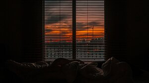 Bedroom Sunset Blinds Sheets Window 4096x3049 Wallpaper