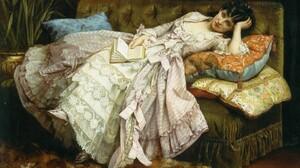 Artistic Book Dress Girl Painting Vintage 1920x1200 Wallpaper
