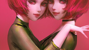 Nixeu ArtStation Artwork Women Two Women Redhead Red Eyes Red Lipstick Looking At Viewer Simple Back 913x1300 wallpaper