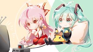Anime Girls 2D Vocaloid Hatsune Miku Touhou Fujiwara No Mokou Crossover Pikachu Shangguan Feiying 1649x1090 Wallpaper
