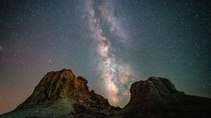 Landscape Rocks Stars Milky Way 3000x2000 Wallpaper